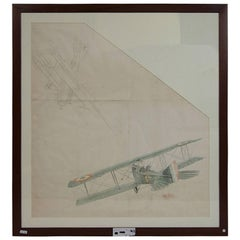 Water-Color and Pencil Drawing Represents Two Biplanes, WWI