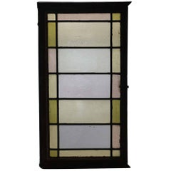 1910 Reclaimed Pastel Colored Stained Glass Rectangular Window