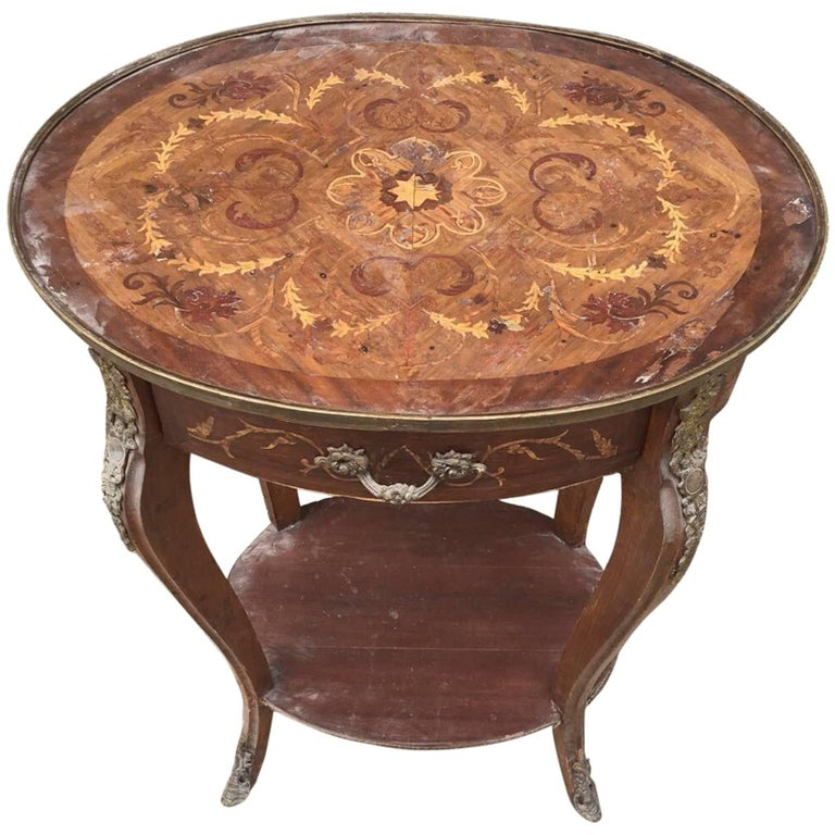 Unusual Antique French Inlaid Bedside Table, Louis XV