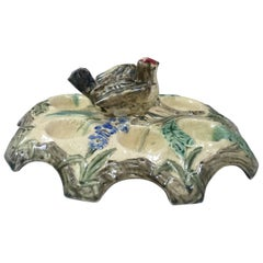 Belgium Majolica Egg Plate with Bird, circa 1880