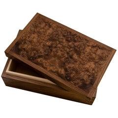 Walnut, Burr Walnut and Maple Dovetailed Jewelry Box