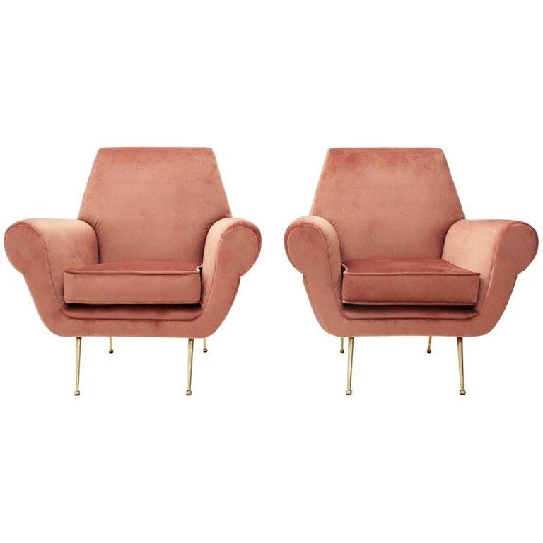 Set of Two Italian Pink Velvet Armchairs, 1950s