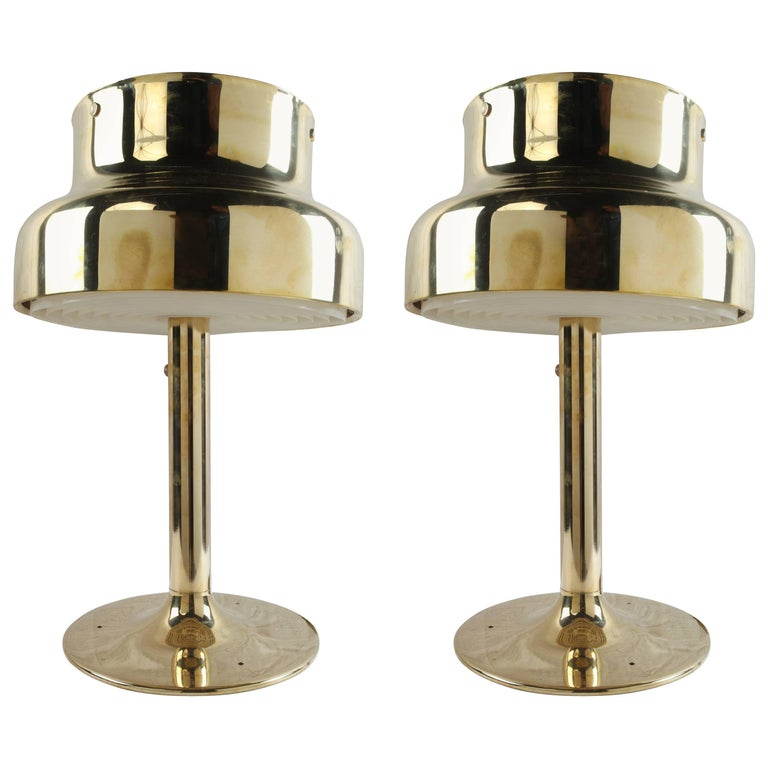 Pair of Brass Ship's Stateroom Table Lamps, 1970s