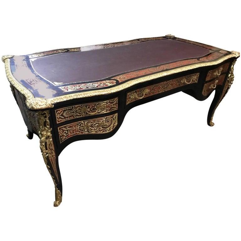 Stunning Antique Rococo Table/Desk, Vintage, Inlaid, Bronze, Rare - Vintage Mitchell Gold + Bob Williams Antique Mirror Desk/Table At