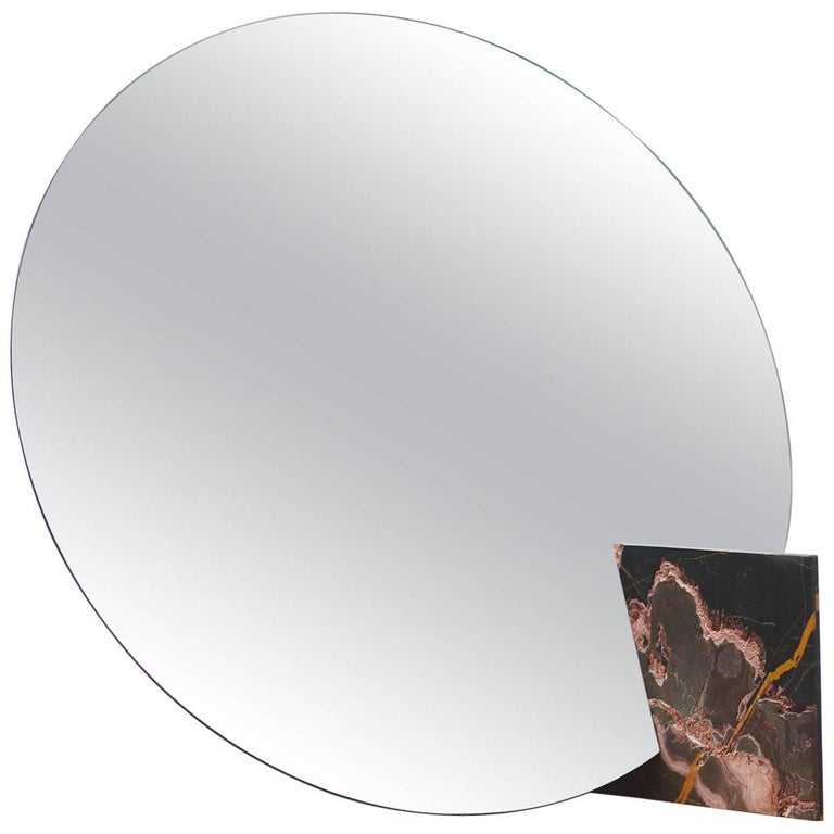 Autem Circle Table Mirror in Marble & Mirrored Glass, Contemporary Vanity Mirror For Sale