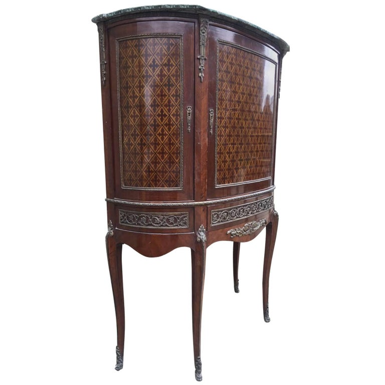 French Antique Inlaid Display/Shop Cupboard, Unusual, Vintage, Louis XV For Sale