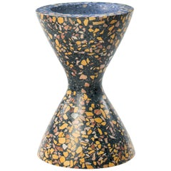 Confetti Indoor/Outdoor Planter Medium in Midnight Terrazzo and Brass Details