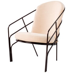 DeMille Indoor Outdoor Lounge Chair in Black Red Steel with Blush Cushion