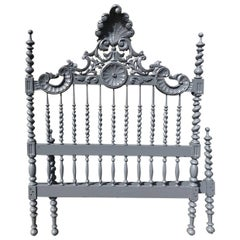 Beautiful Antique French Double Bed, Vintage, Painted