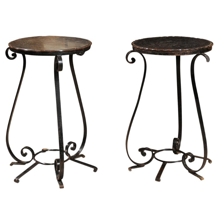 Pair of Small Vintage Wrought Iron Tables with Iron Tops from France