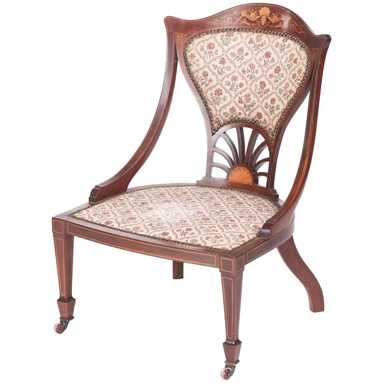 Antique Inlaid Mahogany Ladies Chair For Sale - Antique Inlaid Mahogany Ladies Chair For Sale At 1stdibs
