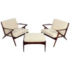 "Danish Modern ""Z"" Lounge Chairs and Ottoman by Poul Jensen"