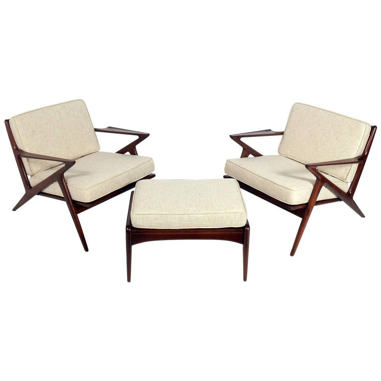"Danish Modern ""Z"" Lounge Chairs and Ottoman by Poul Jensen"