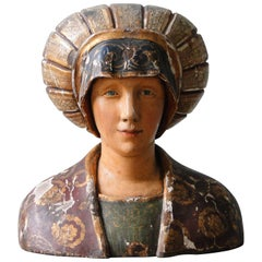 Wooden Carved Statue or Bust from the 16th Century
