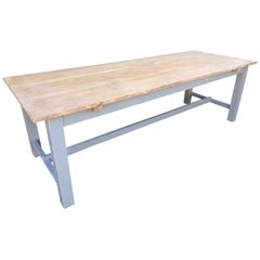 260cm Long Antique Oak French Farm Table, Vintage, Original Paint, Refectory