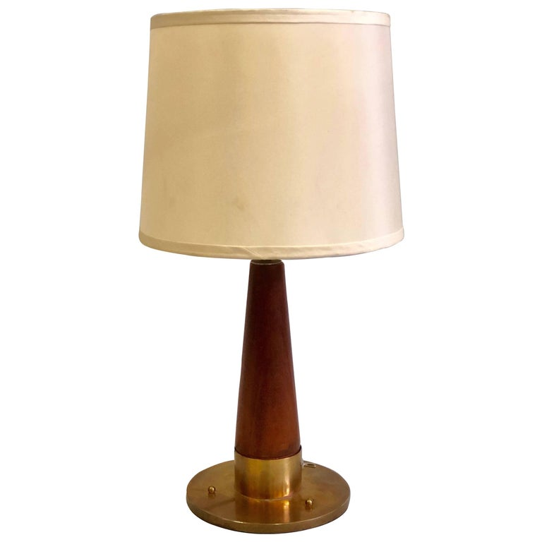 British Mid-Century Modern Teak and Brass, Marine Desk or Table Lamp, 1930