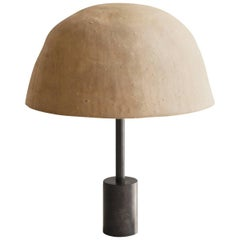 Dome Table or Desk Lamp in Blackened Steel, Shiga Stoneware & Feldspar Modern