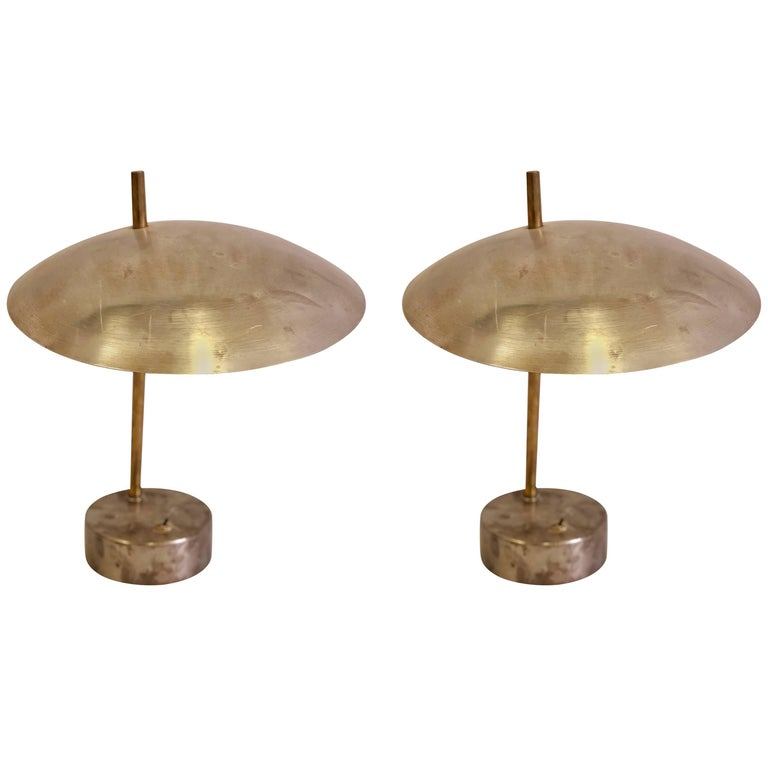 Pair of Mid-Century Modern Industrial Steel and Brass Desk or Table Lamps, 1950