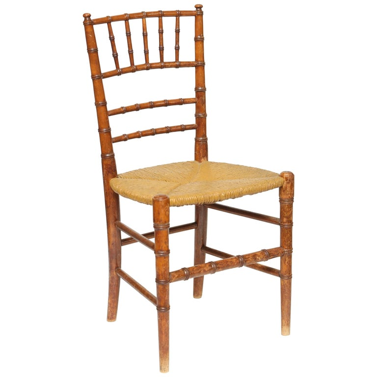 Child's Carved Faux Bamboo Side Chair