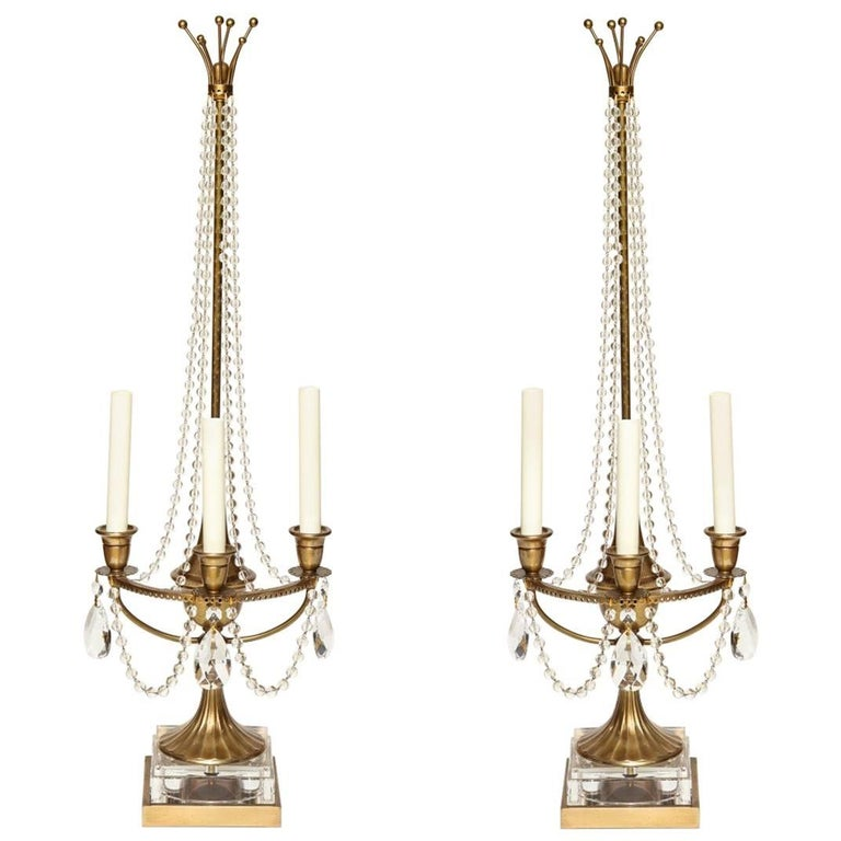 Pair of Brass Beaded Crystal Draped Candelabra For Sale