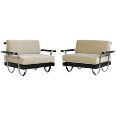 Pair of Mid-Century Modern Ebonized Wood and Chrome Lounge Chairs