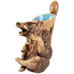 Late 19th Century Small American Majolica Figural Honey Bear Pitcher