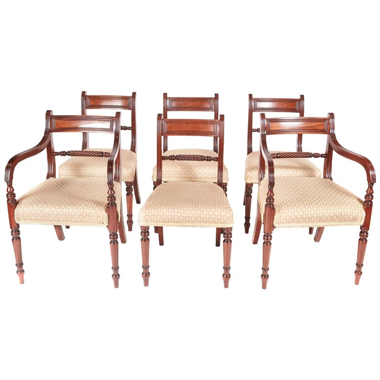 Fine Set of Six Antique Regency Mahogany Dining Chairs