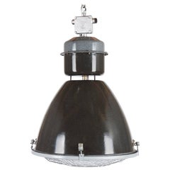 Large Enamel Factory, Industrial Pendant Lamp Parabolic Glass