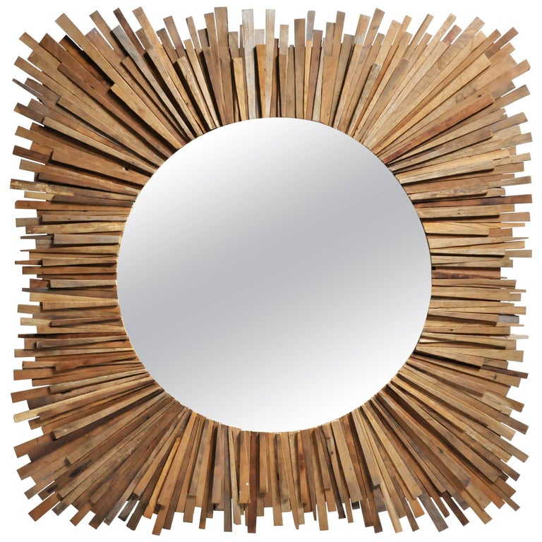 Teak Wood Sunburst Mirror For Sale