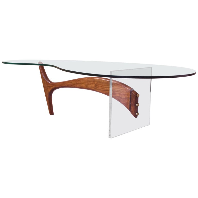 Vladimir Kagan Coffee Table in Sculpted Walnut, Lucite and Brass, 1950s