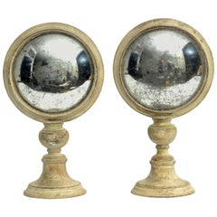 Curved Round Mirrors and Malachite from a Wunderkammer, Italy, circa 1880, Pair