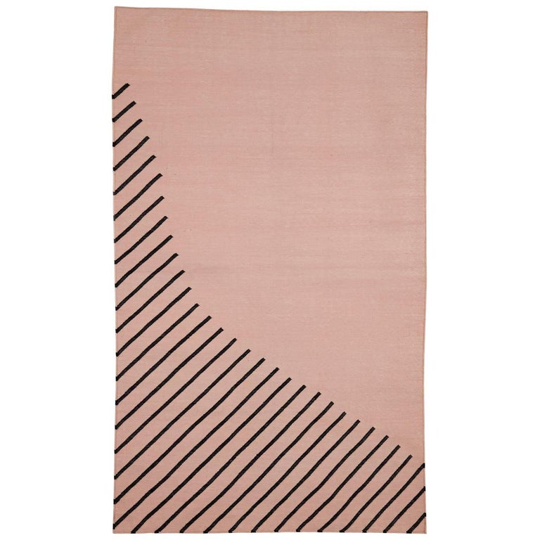 Eulerian No. 1 Rug or Carpet by Tantuvi Modern in Pink & Black Handwoven Cotton