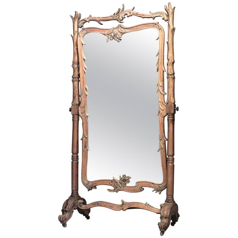 French Art Nouveau Stripped Pine Carved Cheval Mirror