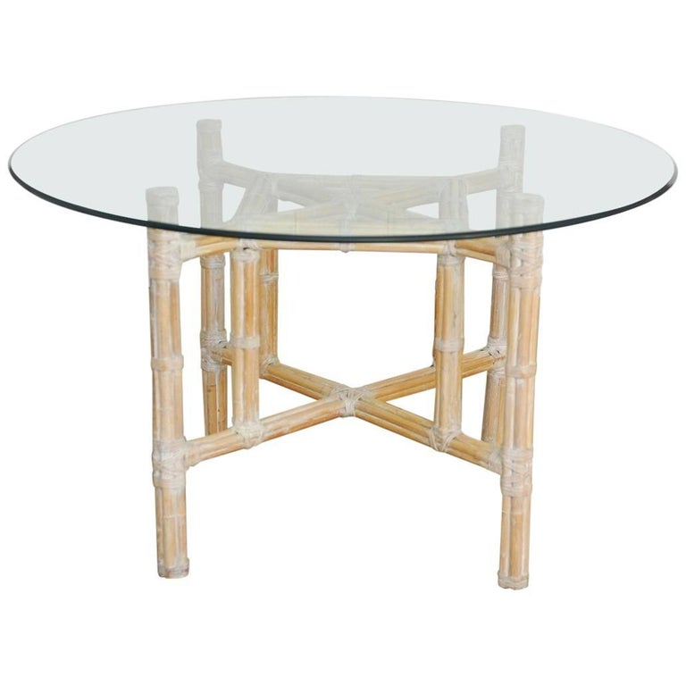 Organic Modern Bamboo Rattan Dining Table by McGuire For Sale