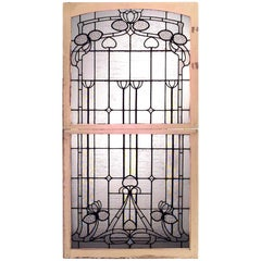 French Art Nouveau Clear and Textured Leaded Glass Double Window