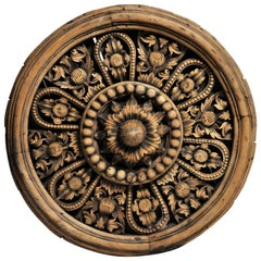 Southeast Asian Round Carved Flower Panel
