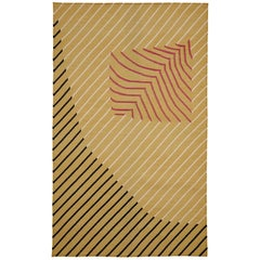 Eulerian No 3 Rug or Carpet Tantuvi Modern in Yellow Red Black Handwoven Cotton