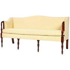 Sheraton Camel Back Sofa with Mahogany Reeded Legs and Inlay