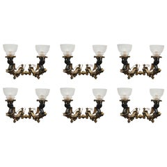 Six Bronze Gilt Sconces with Etched Glass Hurricanes