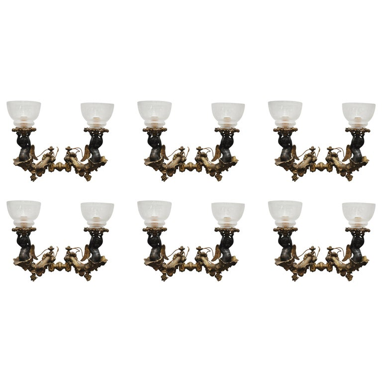 Six Bronze Gilt Sconces with Etched Glass Hurricanes For Sale