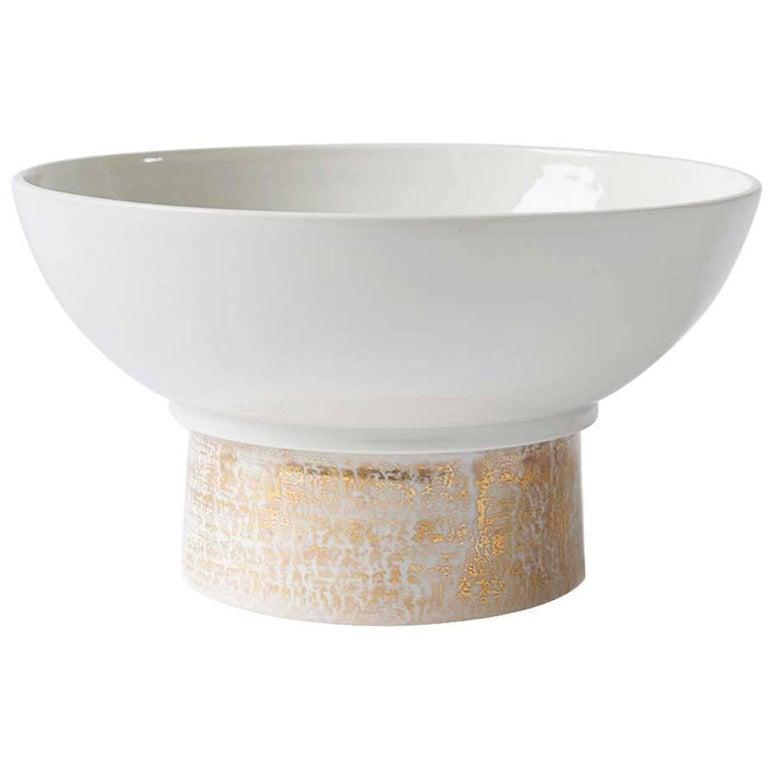 Handmade Porcelain Bowl, Elevated, 24-Karat Gold, Modular, Contemporary, Modern