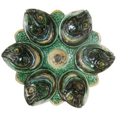 Majolica Palissy Fish Heads Oyster Plate Thomas Sergent, circa 1880