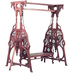 Art Nouveau 'Indian Style' Carved Teak Wood Filigree Swing