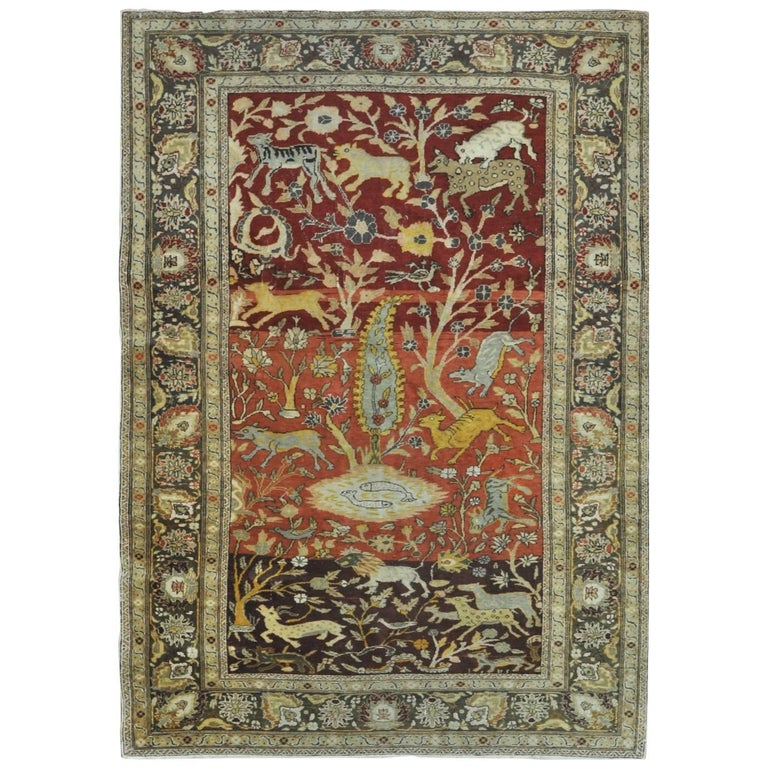 Semi-Antique Hand-Knotted Small Turkish Rug