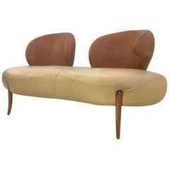 Sculpted Sofa in Leather by Poltromec Italia