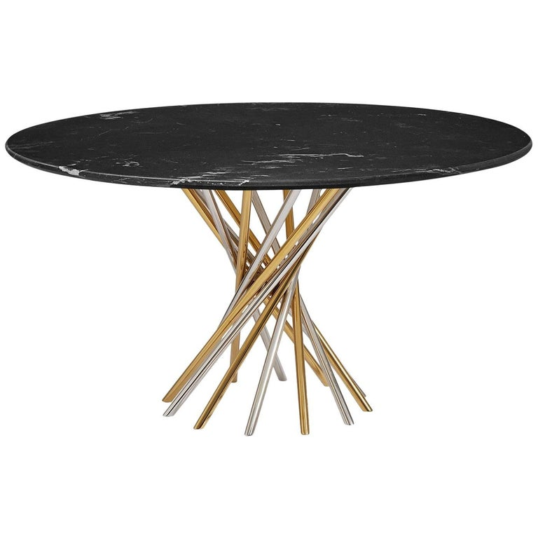 Electrum Black Marble and Mixed Metal Dining Table For Sale