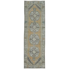 Vintage Hand-Knotted Turkish Anatolian Runner Rug