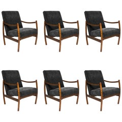 Club Armchairs, Black Velvet, 1960s