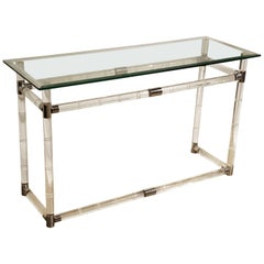 Iconic Charles Hollis Jones Bamboo Console Table in Lucite, Chrome and Glass