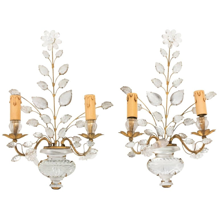 Pair of French Baguès Style Crystal Sconces